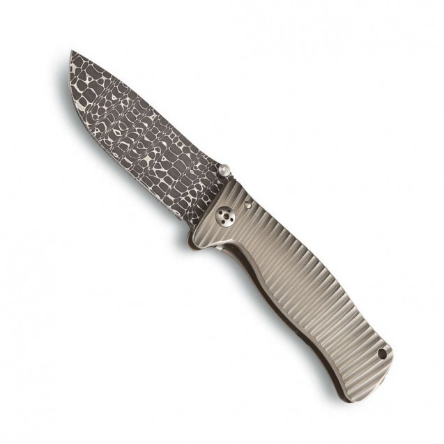 LionSteel SR-1 Lizard Damascus Solid Folding Knife - SR-1